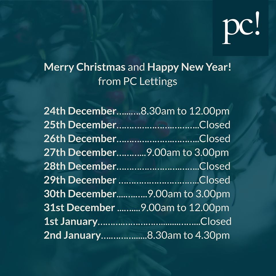pc Lettings christmas opening hrs 2019